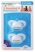 Physiological soothers in silicone